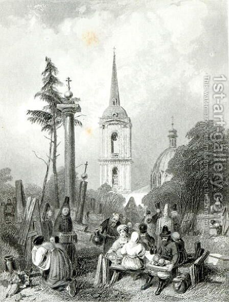 Cemetery of the Smolensko Church, engraved by E.Smith, 1845 by Alfred Vickers - Reproduction Oil Painting