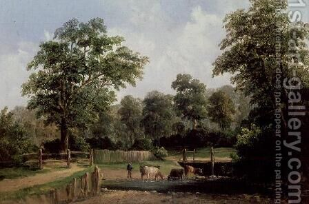 Landscape with cows by Alfred Vickers - Reproduction Oil Painting