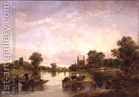 View of Eton College from the Thames, 1850 by Alfred Vickers - Reproduction Oil Painting