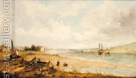 View of the Burry Estuary, 1856 by Alfred Vickers - Reproduction Oil Painting