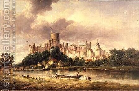 A View of Windsor Castle by Alfred Vickers - Reproduction Oil Painting