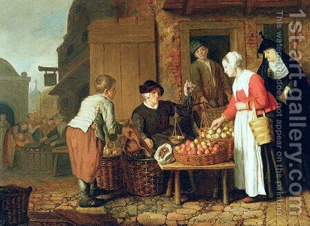The Fruit Seller by Jan Victors - Reproduction Oil Painting