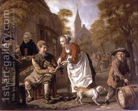 A Village Scene with a Cobbler, c.1650 by Jan Victors - Reproduction Oil Painting