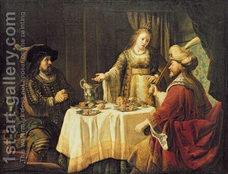 The Meal with Esther by Jan Victors - Reproduction Oil Painting