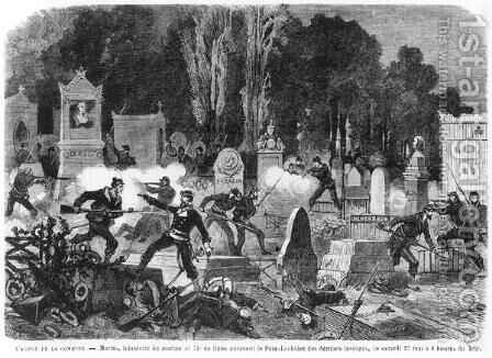 Agony of the Commune, last fights in the Cemetery of Pere Lachaise, engraved by Louis Joseph Amedee Daudenarde d.1907 illustration from Le Monde illustre, 27th May 1871 by Daniel Urrabieta Vierge - Reproduction Oil Painting