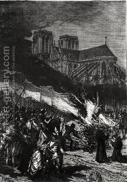 Burning of the Templars, illustration from LHistoire de France by Jules Michelet 1798-1874 by Daniel Urrabieta Vierge - Reproduction Oil Painting