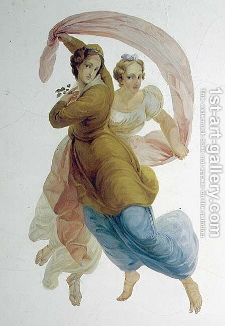 Two Graces, wall panel in the Porcelain Room, c.1822 by Antonio Vighi - Reproduction Oil Painting