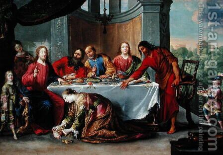 Christ in the House of Simon the Pharisee, c.1635 by Claude Vignon - Reproduction Oil Painting