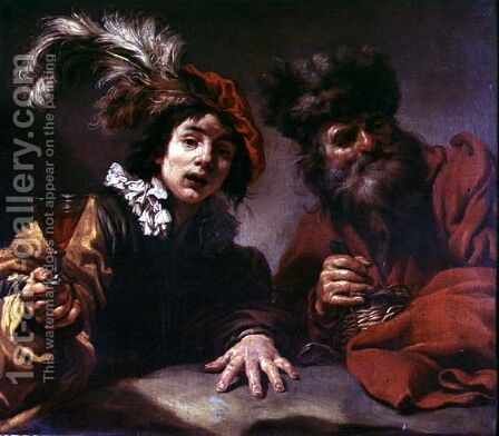 Two Men Drinking by Claude Vignon - Reproduction Oil Painting