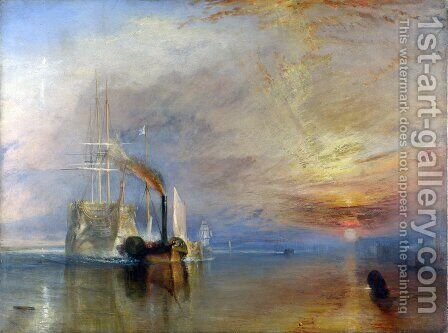 The Fighting Temeraire Tugged to her Last Berth to be Broken up, before 1839 by Turner - Reproduction Oil Painting