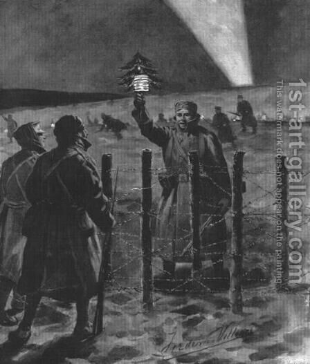 The Christmas Day Truce of 1914, published 1915 by (after) Villiers, Frederic - Reproduction Oil Painting