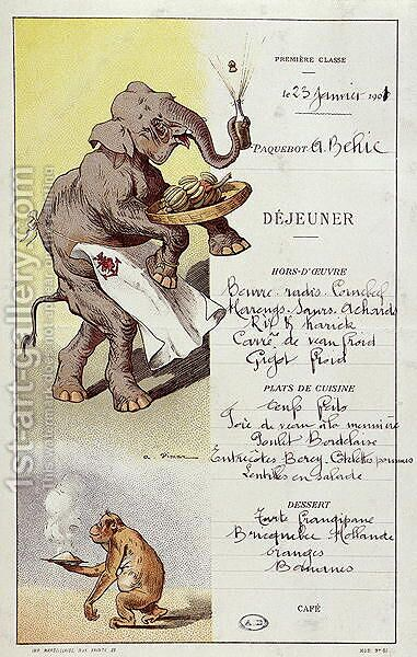 First class menu from the liner LArmand Behic, 23rd January 1901 by A. Vimar - Reproduction Oil Painting