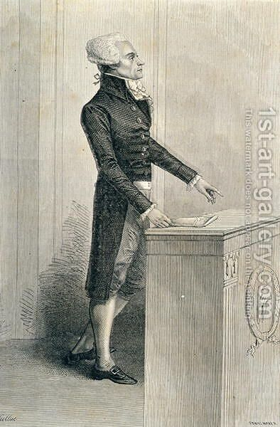 Maximilien de Robespierre 1758-94 Orating, engraved by Stephane Pannemaker 1847-1930 by (after) Viollat, Eugene Joseph - Reproduction Oil Painting