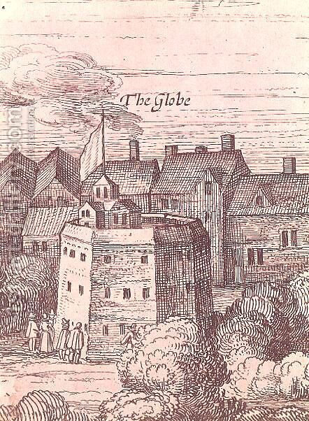 The Globe Theatre, detail from an engraving, 1616 by Cornelius de Visscher - Reproduction Oil Painting