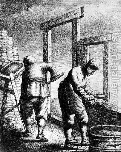Bricklayers, from a series depicting trades and professions, c.163 by Jan Georg van Vliet - Reproduction Oil Painting