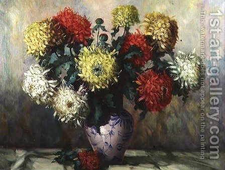 Chrysanthemums in a blue and white china vase by H.G. Vockwein - Reproduction Oil Painting