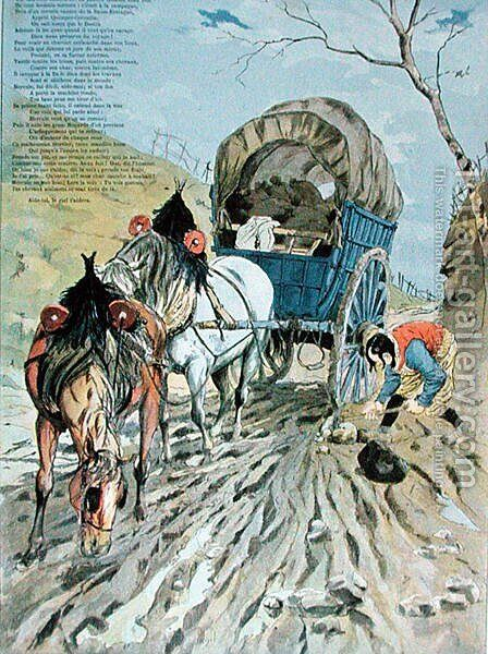 The Cart stuck in the mud, from Fables by Jean de La Fontaine 1621-95 1888 by Hermann Vogel - Reproduction Oil Painting