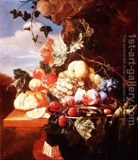 Still life with fruit and flowers by Arie de Vois - Reproduction Oil Painting