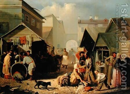 Refreshment Stall in St. Petersburg, 1858 by Adrian Markovich Volkov - Reproduction Oil Painting