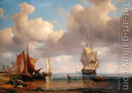 Calm Sea, 1836 by Adolf Vollmer - Reproduction Oil Painting