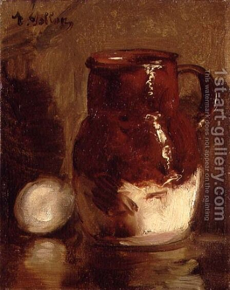 Stoneware Jug and Egg by Antoine Vollon - Reproduction Oil Painting