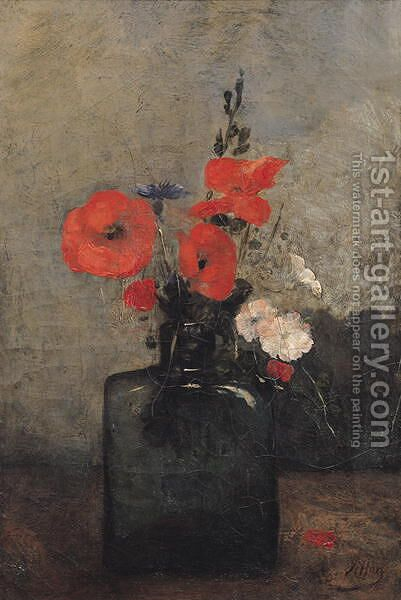 Flowers, 1857 by Antoine Vollon - Reproduction Oil Painting