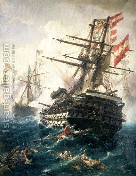 The Battle of Lissa, fought between the Austro-Hungarian Empire and Italy, in 1866 by Constantin Volonakis - Reproduction Oil Painting