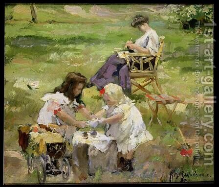 The Picnic by August Willem van Voorden - Reproduction Oil Painting
