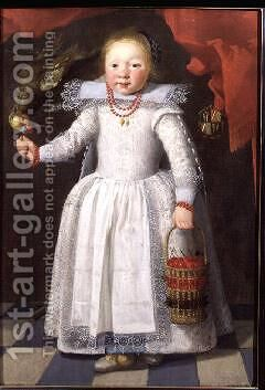 Little girl with a parrot, 1625 by Cornelis De Vos - Reproduction Oil Painting