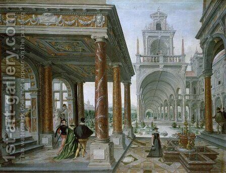 Cappricio of palace architecture with Figures Promenading, 1596 by Hans Vredeman de Vries - Reproduction Oil Painting