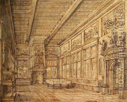 Interior of a Hall by Hans Vredeman de Vries - Reproduction Oil Painting