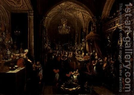 Belshazzars Feast by Hans Vredeman de Vries - Reproduction Oil Painting
