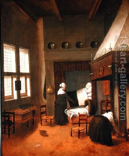 Bedroom Interior with Mother and New-Born Child by Jacobus Vrel - Reproduction Oil Painting