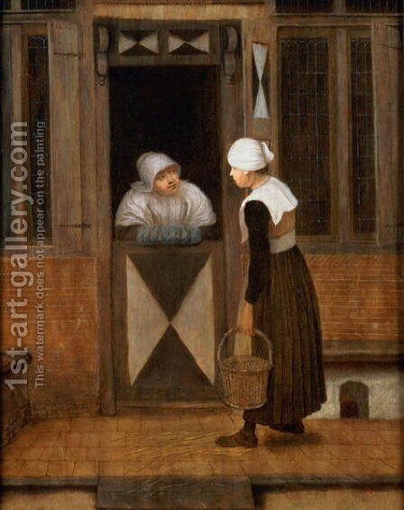 A Conversation in the Street by Jacobus Vrel - Reproduction Oil Painting