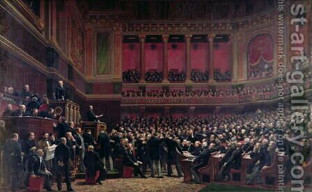 Louis Adolphe Thiers 1797-1877 Acclaimed by the Deputies During a Meeting, 16th June 1877, c.1878 by Benjamin Ulmann - Reproduction Oil Painting
