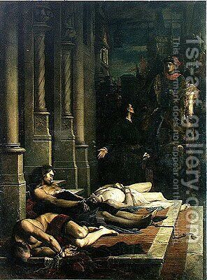The Body of Etienne Marcel c.1316-58 is Shown to Dauphin Charles 1338-80 of France, future Charles V, 2nd August 135 by Benjamin Ulmann - Reproduction Oil Painting