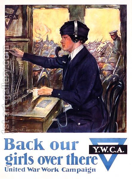Back Our Girls Over There, World War I YWCA poster, c.1918 by Clarence F. Underwood - Reproduction Oil Painting