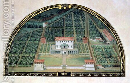 Villa Poggio a Caiano from a series of lunettes depicting views of the Medici villas, 1599 by Giusto Utens - Reproduction Oil Painting