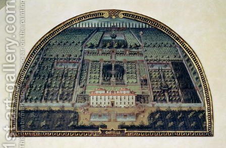 Villa di Castello from a series of lunettes depicting views of the Medici villas, 1599 by Giusto Utens - Reproduction Oil Painting