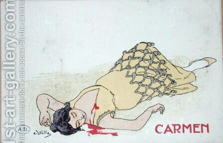 Postcard depicting the Death of Carmen, from the opera of the same name, c.1900 by A. Utrillo - Reproduction Oil Painting