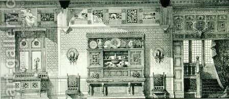 Side Elevation of a Dining Room, from Examples of Ancient and Modern Furniture, 1876 by Bruce James Talbert - Reproduction Oil Painting