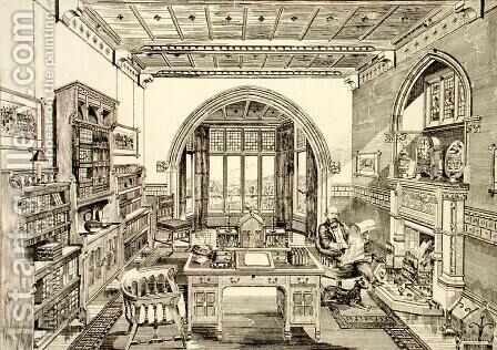 Interior View of a Library, 1876 by Bruce James Talbert - Reproduction Oil Painting