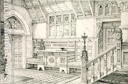 Hall, from Examples of Ancient and Modern Furniture, by Bruce Talbert, 1876 by Bruce James Talbert - Reproduction Oil Painting