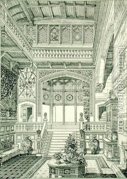 Hall and Staircase, from Examples of Ancient and Modern Furniture, 1876 by Bruce James Talbert - Reproduction Oil Painting