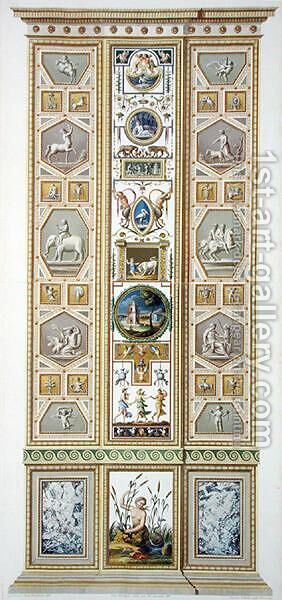 Panel from the Raphael Loggia at the Vatican, from Delle Loggie di Rafaele nel Vaticano, engraved by Giovanni Volpato 1735-1803, 1774, published c.1774-77 by (after) Taurinensis, Ludovicus Tesio - Reproduction Oil Painting