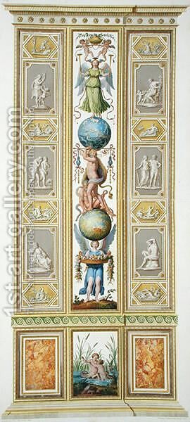 Panel from the Raphael Loggia at the Vatican, from Delle Loggie di Rafaele nel Vaticano, engraved by Giovanni Volpato 1735-1803, 1776, published c.1777 by (after) Taurinensis, Ludovicus Tesio - Reproduction Oil Painting