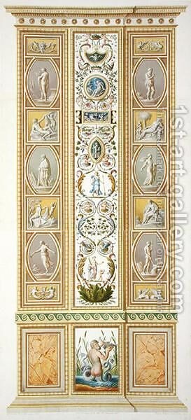 Panel from the Raphael Loggia at the Vatican, from Delle Loggie di Rafaele nel Vaticano, engraved by Giovanni Volpato 1735-1803, 1774, published c.1774-77 2 by (after) Taurinensis, Ludovicus Tesio - Reproduction Oil Painting