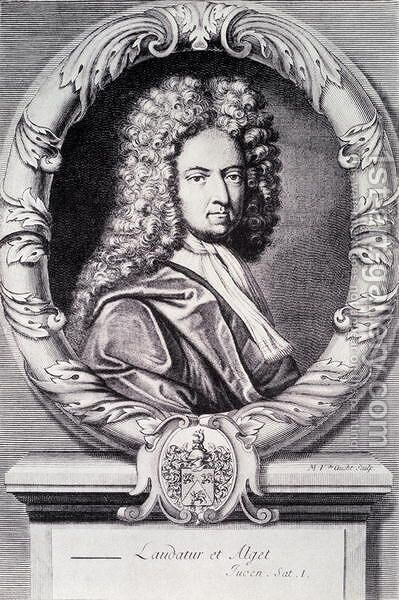 Daniel Defoe, engraved by Michael Van der Gucht 1660-1725 by (after) Taverner, Jeremiah - Reproduction Oil Painting