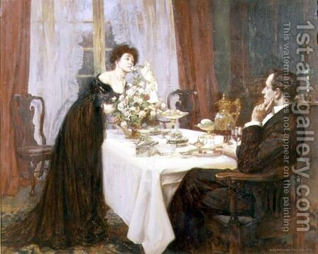 The Anniversary, I love thee to the level of everyday's most quiet need - Elizabeth Barrett Browning, 1909 by Albert Chevallier Tayler - Reproduction Oil Painting