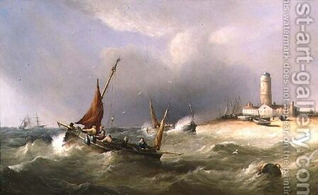 Fishing Boats in a Squall off Dungeness Spit by Henry King Taylor - Reproduction Oil Painting